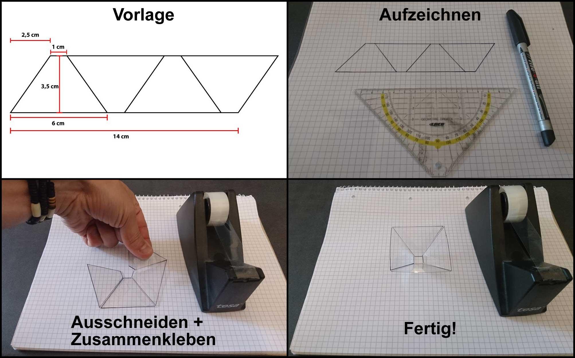 Bauanleitung Pyramide für 3d Hologramm