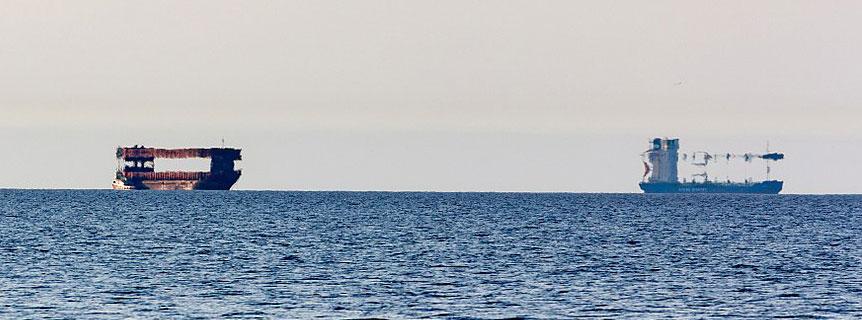 Obere Fatamorgana über dem Meer