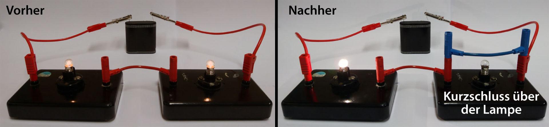 Kurzschluss über einer Lampe
