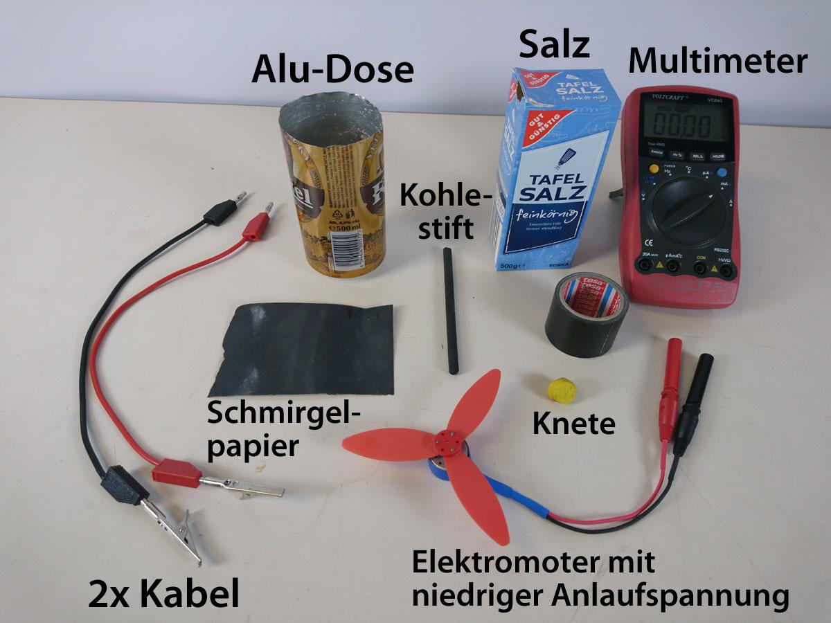 Material für den Versuch Strom aus der Dose