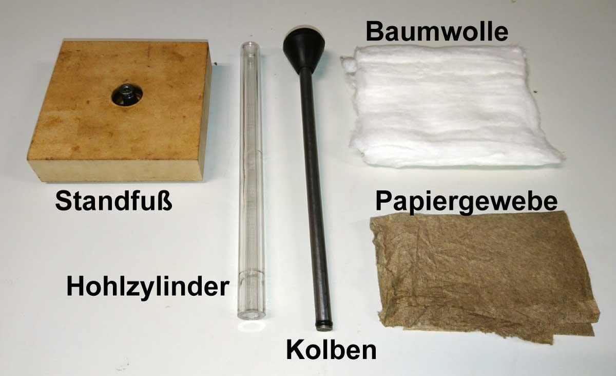 Bestandteile eines Kompressionsfeuerzeugs (Feuerpumpe)