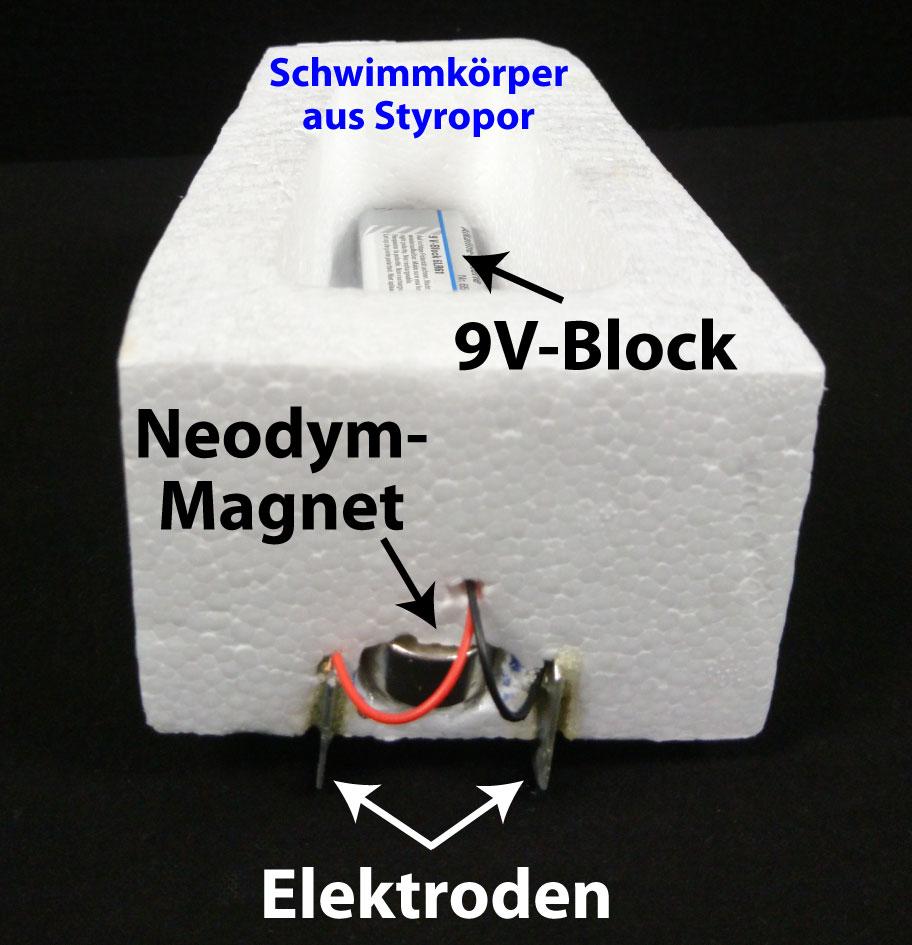 einfaches Modellschiff mit magnetohydrodynamischem Antrieb