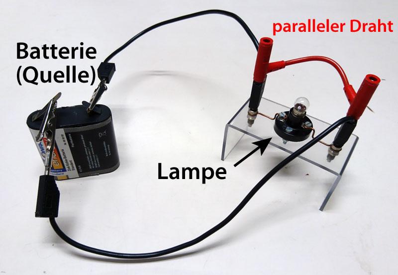 Stromkreis mit kurzgeschlossener Lampe