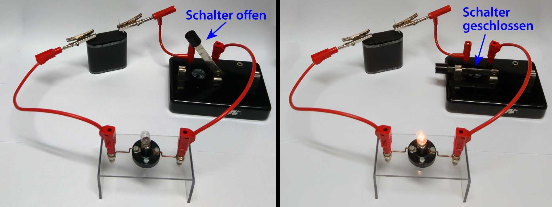 Stromkreis mit Batterie, Schalter und Lampe