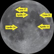 Standorte ausgewählter Laserreflektoren auf dem Mond